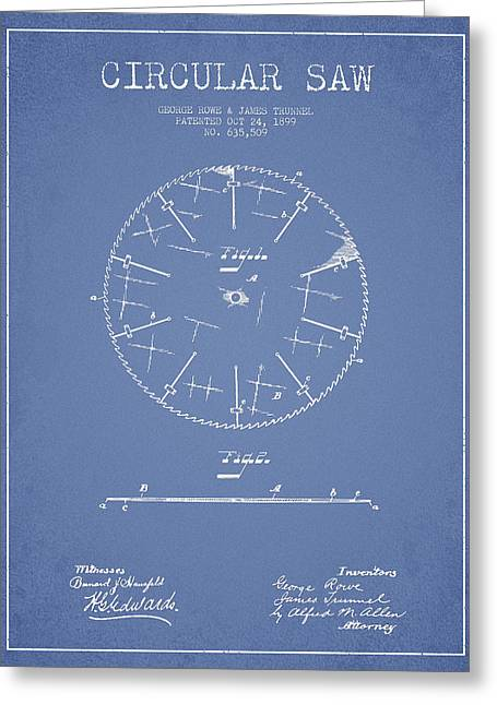 Saws Greeting Cards - Circular Saw Patent Drawing from 1899 Greeting Card by Aged Pixel