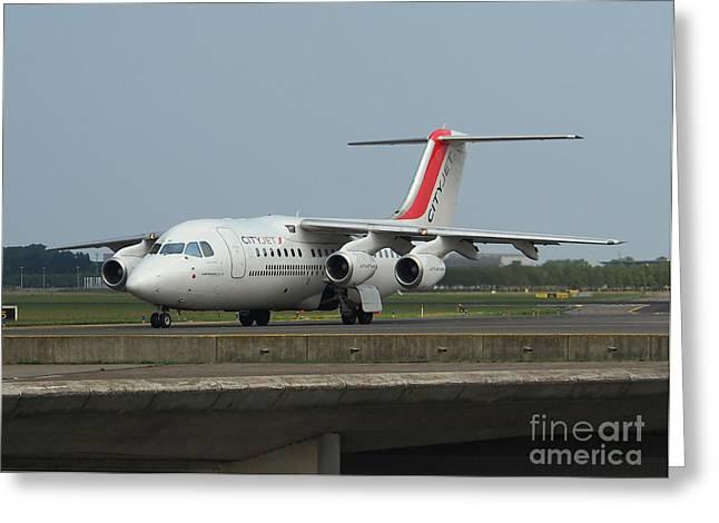 Klm Greeting Cards - Cityjet British Aerospace Avro RJ85 Greeting Card by Paul Fearn