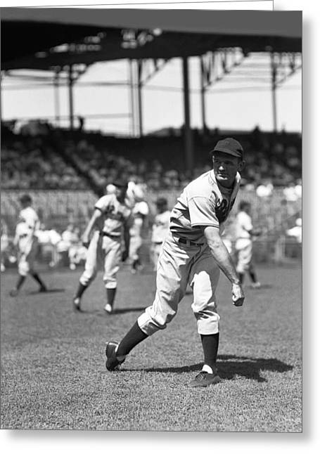 Philadelphia Phillies Stadium Greeting Cards - Claude W. Passeau Greeting Card by Retro Images Archive