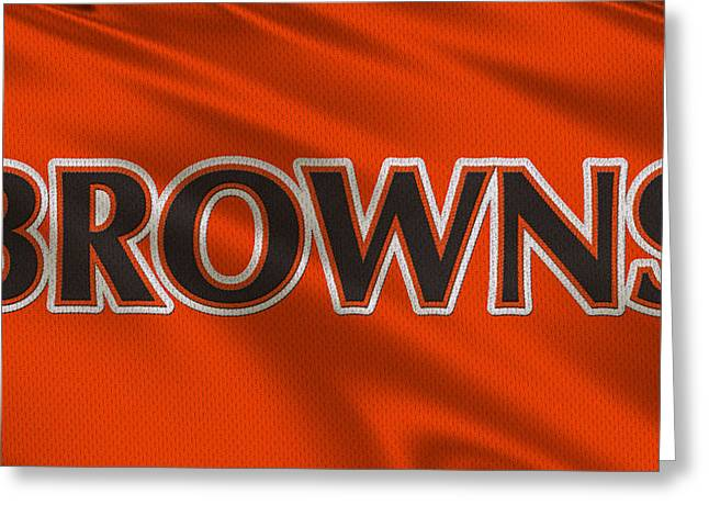 Nfl Greeting Cards - Cleveland Browns Uniform Greeting Card by Joe Hamilton