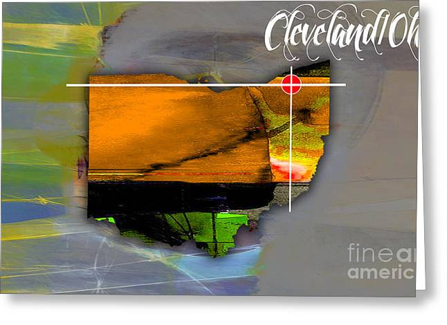 Cleveland Ohio Map Watercolor Greeting Card by Marvin Blaine