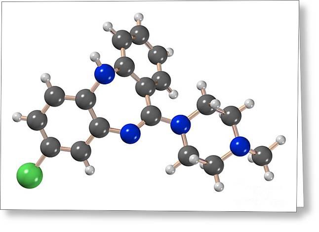 Psychiatric Greeting Cards - Clozapine Antipsychotic Drug Molecule Greeting Card by Dr. Mark J. Winter