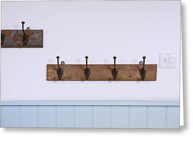 Coat Hanger Greeting Cards - Coat hooks Greeting Card by Tom Gowanlock