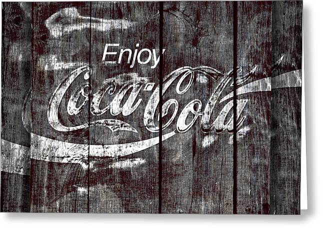 Closeup Coke Sign Greeting Cards - Coca Cola Sign Greeting Card by John Stephens