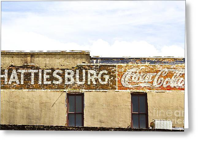 Hattiesburg Photographs Greeting Cards - Coca Cola sign on the side of a brick building in Hattiesburg Mi Greeting Card by ELITE IMAGE photography By Chad McDermott