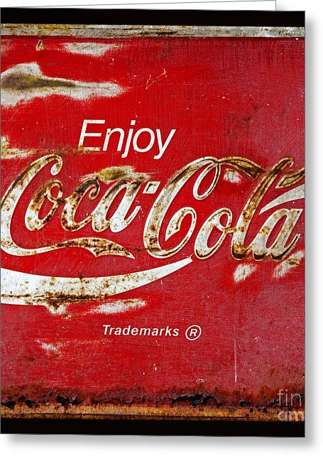 Closeup Coca Cola Sign Greeting Cards - Coca Cola Vintage Rusty Sign Black Border Greeting Card by John Stephens