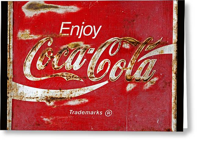 Vintage Coca Cola Sign Greeting Cards - Coca Cola Vintage Rusty Sign Black Border Greeting Card by John Stephens