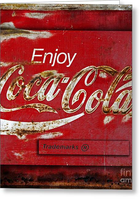 Closeup Coca Cola Sign Greeting Cards - Coca Cola Vintage Rusty Sign Greeting Card by John Stephens