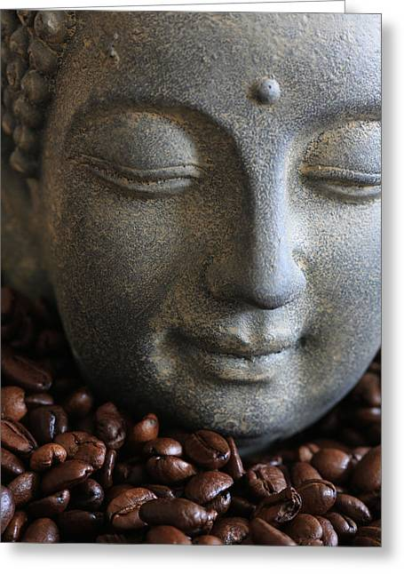 Asien Photographs Greeting Cards - Coffee Buddha Greeting Card by Falko Follert