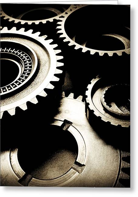 Cogs Greeting Card by Les Cunliffe