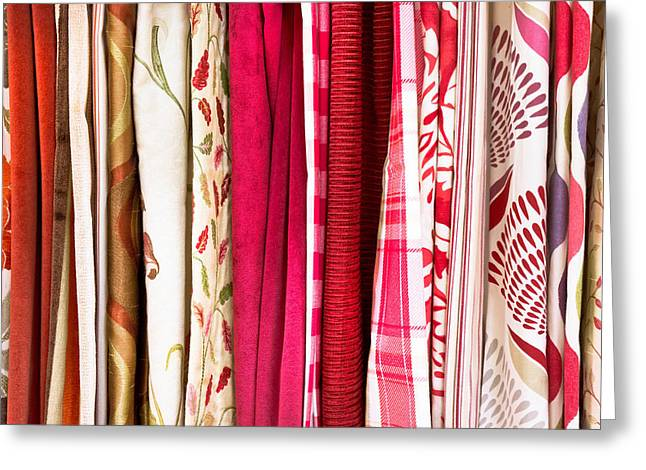 Abstract Style Greeting Cards - Colorful fabrics Greeting Card by Tom Gowanlock