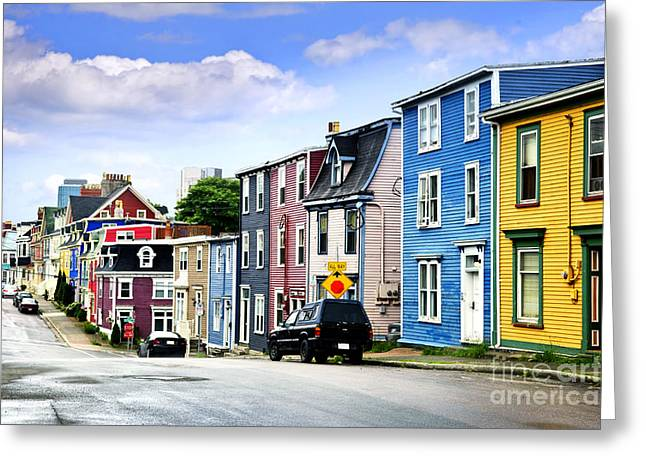 Row Greeting Cards - Colorful houses in St. Johns Greeting Card by Elena Elisseeva