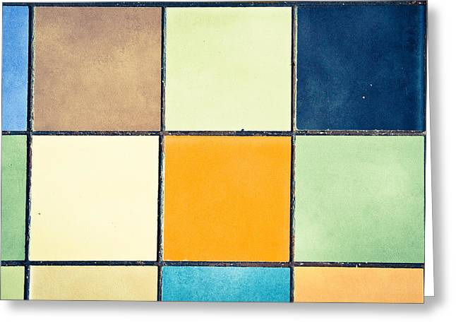 Abstract Style Greeting Cards - Colorful tiles Greeting Card by Tom Gowanlock