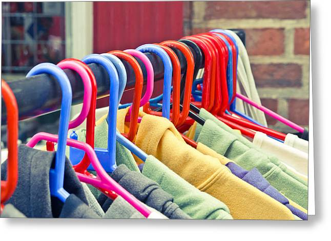 Choosing Photographs Greeting Cards - Colorful tops Greeting Card by Tom Gowanlock