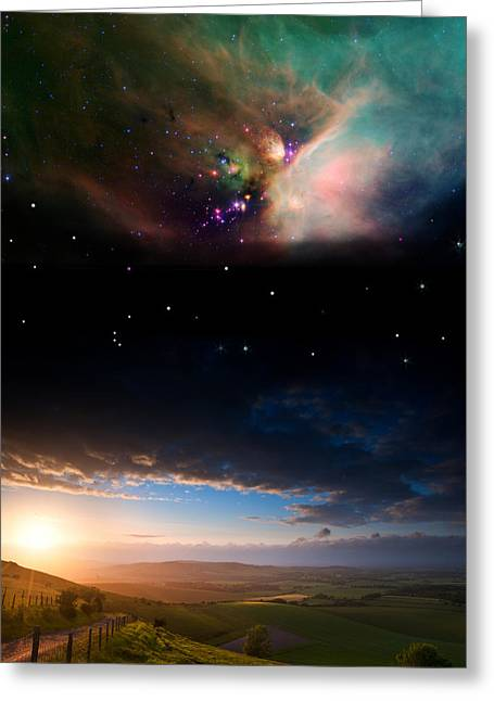 Interstellar Space Greeting Cards - Countryside sunset landscape with planets in night sky Elements  Greeting Card by Matthew Gibson