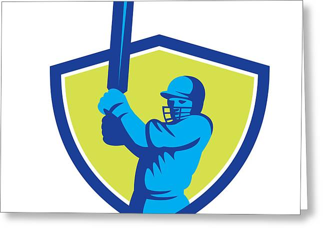 Batting Helmet Greeting Cards - Cricket Player Batsman Batting Shield Retro Greeting Card by Aloysius Patrimonio