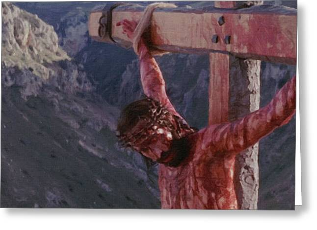 Religious Paintings Greeting Cards - Crucifix Greeting Card by Victor Gladkiy
