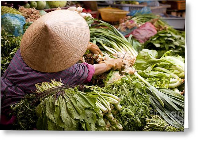 Dalat Greeting Cards - Dalat Market Vietnam Greeting Card by Kevin Miller