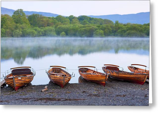 Boats In Reflecting Water Photographs Greeting Cards - Derwent Water Greeting Card by Sebastian Wasek