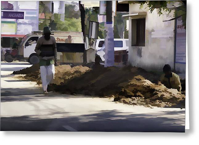 Digging A Ditch At The Side Of A Road In Roorkee Greeting Card by Ashish Agarwal