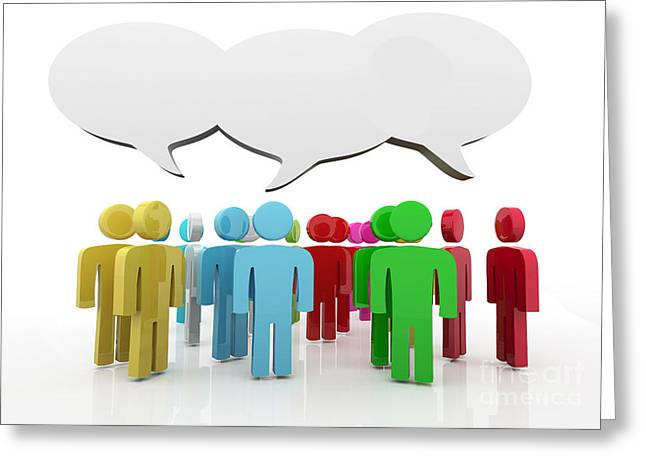 Speech Balloon Greeting Cards - Discussion blank speech bubbles Greeting Card by Michal Bednarek