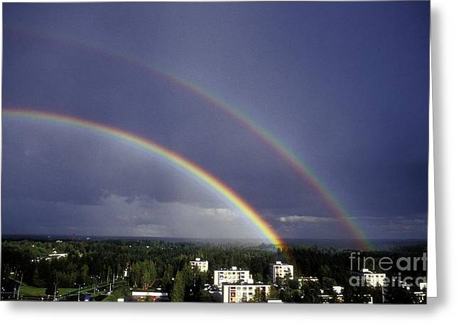 Double Rainbow Over A Town Greeting Card by Pekka Parviainen