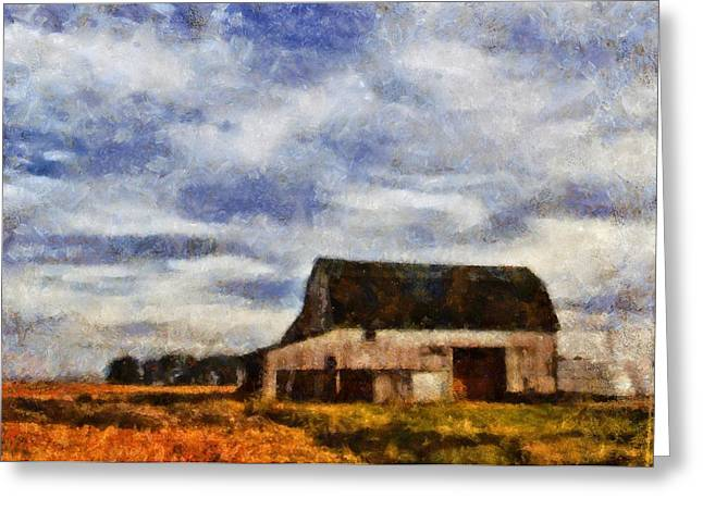 Summer Scene Mixed Media Greeting Cards - Down On The Farm Ohio Country Scene Greeting Card by Dan Sproul