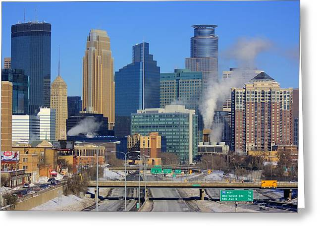 Downtown Franklin Greeting Cards - Downtown Minneapolis Greeting Card by Amanda Stadther