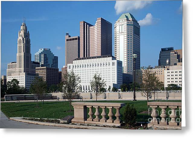 Downtown Genoa Greeting Cards - Downtown Skyline of Columbus Greeting Card by Bill Cobb