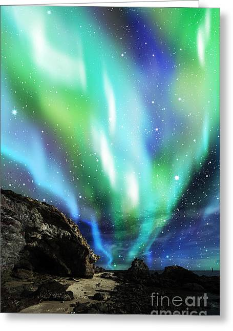 Scenic Mixed Media Greeting Cards - Dramatic Aurora Greeting Card by Atiketta Sangasaeng