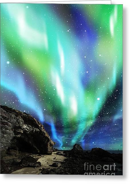Dramatic Aurora Greeting Card by Atiketta Sangasaeng