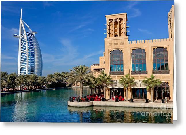 Famous Hotel Greeting Cards - Dubai skyline Greeting Card by Fototrav Print