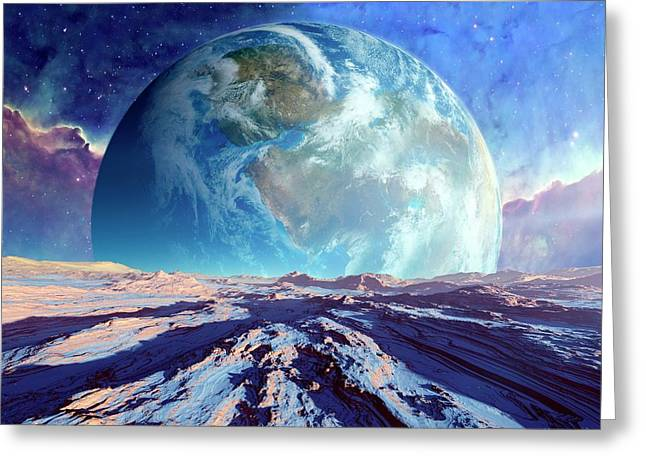 Earth-like Alien Planet Greeting Card by Detlev Van Ravenswaay