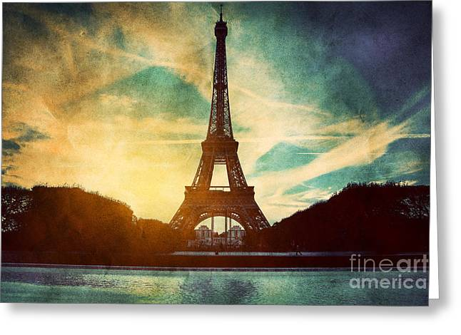 Champs Greeting Cards - Eiffel Tower in Paris Fance in retro style Greeting Card by Michal Bednarek