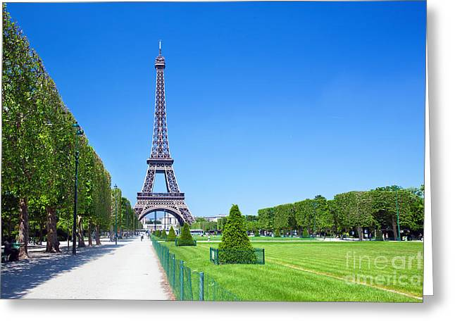 Champs Greeting Cards - Eiffel Tower Greeting Card by Michal Bednarek