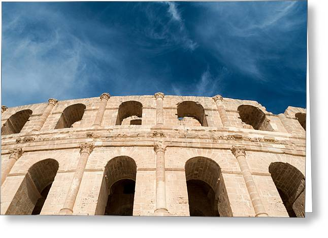 African Heritage Greeting Cards - El Djem Amphitheater  Greeting Card by Chay Bewley