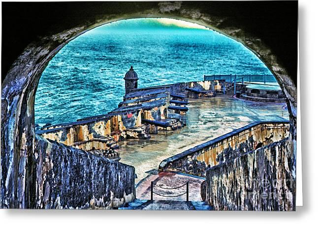 Vacation Digital Art Greeting Cards - El Morro Fortress Old San Juan Greeting Card by Thomas R Fletcher