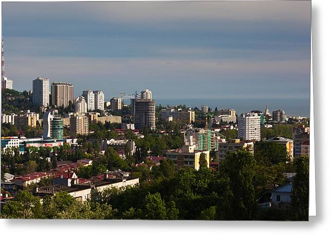 Sochi Russia Greeting Cards - Elevated City View From Vinogradnaya Greeting Card by Panoramic Images