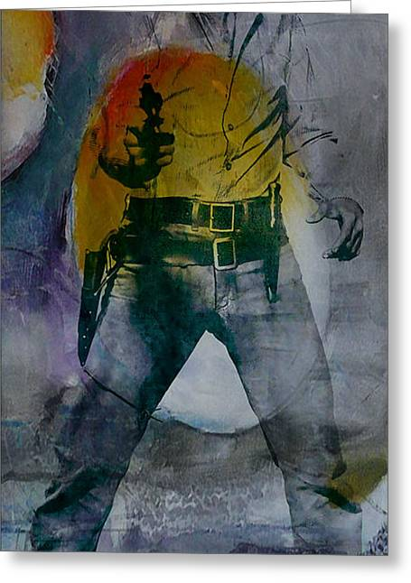 Musician Mixed Media Greeting Cards - Elvis Greeting Card by Marvin Blaine