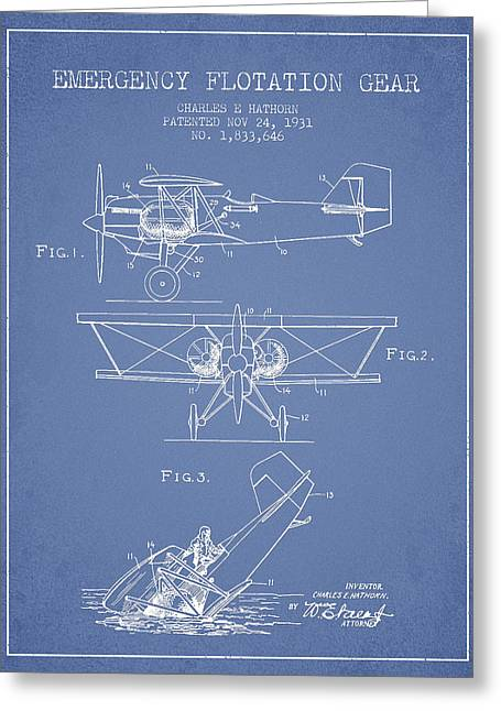 Airplane Greeting Cards - Emergency flotation gear patent Drawing from 1931 Greeting Card by Aged Pixel