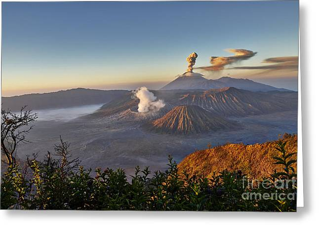 Asien Greeting Cards - eruption at Gunung Bromo Greeting Card by Juergen Ritterbach