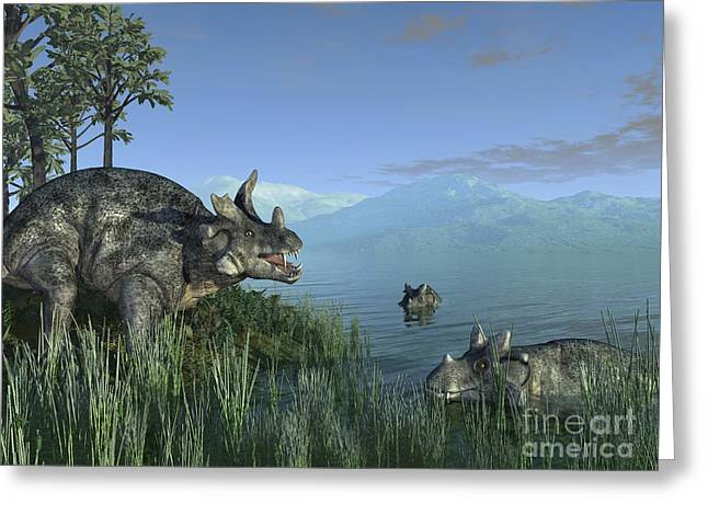 Confronting Greeting Cards - Estemmenosuchus, Artwork Greeting Card by Walter Myers