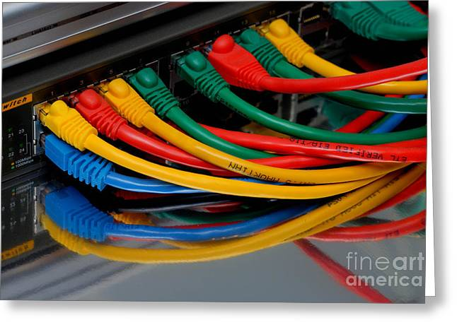 Ecommerce Greeting Cards - Ethernet Cables Plugged into Router Greeting Card by Amy Cicconi