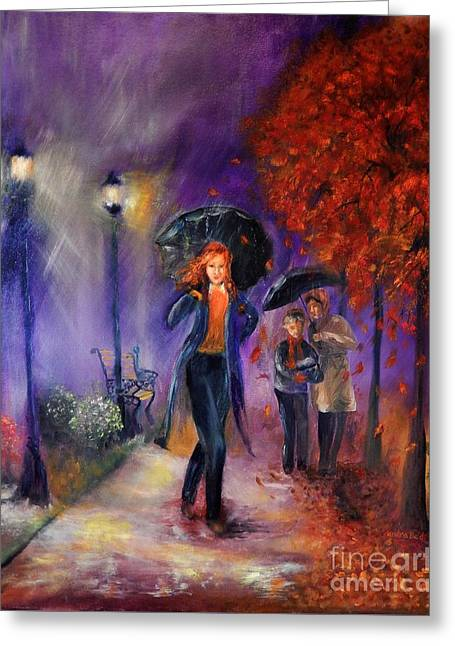 Shower Head Greeting Cards - Evening Walk Greeting Card by Sandra Aguirre