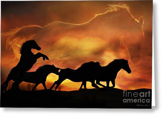 Horse Herd Greeting Cards - 4 Ever Free 2 Greeting Card by Stephanie Laird