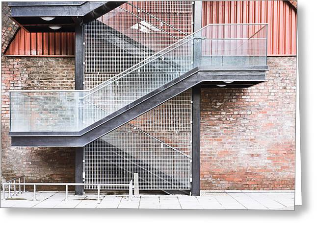 Framework Greeting Cards - Exterior stairs Greeting Card by Tom Gowanlock