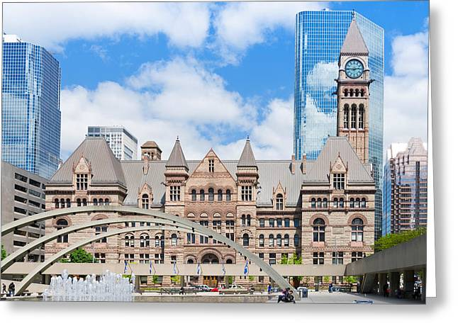 Old City Tower Greeting Cards - Facade Of A Government Building Greeting Card by Panoramic Images