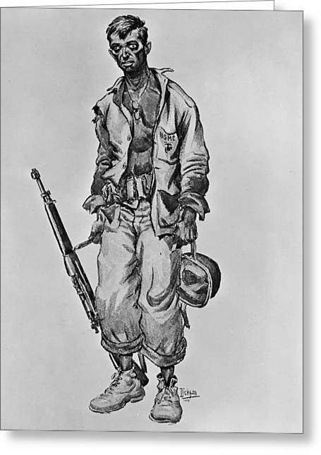 Fatigues Greeting Cards - Faces of World War II Greeting Card by Mountain Dreams