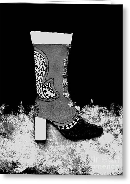 Black Boots Mixed Media Greeting Cards - Fancy Boot  Greeting Card by Faith Riverstone