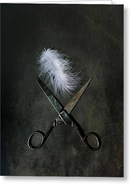 Scissors Greeting Cards - Feather Greeting Card by Joana Kruse